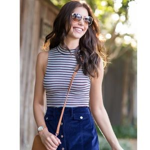 Striped Turtle Neck Tank Top